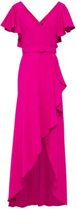 Badgley Mischka Wrap-effect Ruffled Crepe Gown