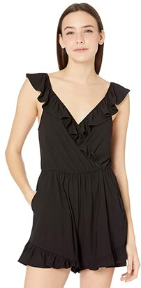 BCBGeneration Surplice Ruffle Sleeve Knit Romper B1SX5D06 (Black) Women's Jumpsuit & Rompers One Piece