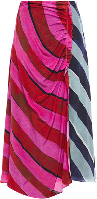 House of Holland Paneled Ruched Striped Silk Crepe De Chine Midi Skirt