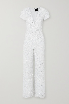 retrofete Elise Wrap-effect Sequined Georgette Jumpsuit - White