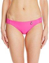 Hawaiian Tropic Women's Solid Bikini Bottom with Cutout Waist Band Pink
