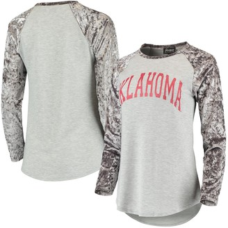 Women's Gray Oklahoma Sooners A Little Bit Softer Now Crushed Velvet Raglan Long Sleeve T-Shirt