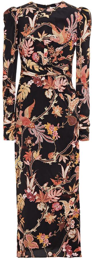Zimmermann Pleated Printed Silk-blend Crepe De Chine Midi Dress