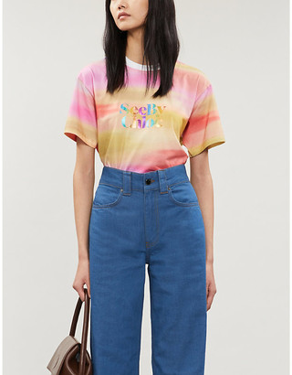 See by Chloe Rainbow logo-print cotton-jersey T-shirt