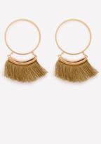 Bebe Tassel Trim Hoop Earrings