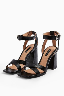 Topshop Womens Sacha Black Ankle Tie Block Heel Sandals - Black