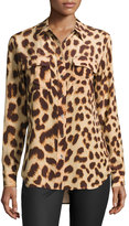 Equipment Silk Slim Signature Long-Sleeve Shirt, Cheetah