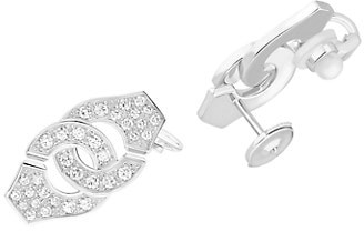 Dinh Van Menottes 18K White Gold & Diamond Post Earrings