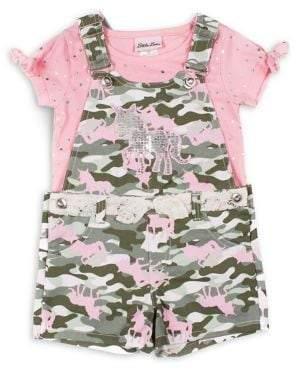 Little Lass Little Girl's 2-Piece Sequin Top & Printed Cotton Shortalls Set