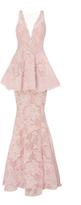 Marchesa Lace Peplum Gown