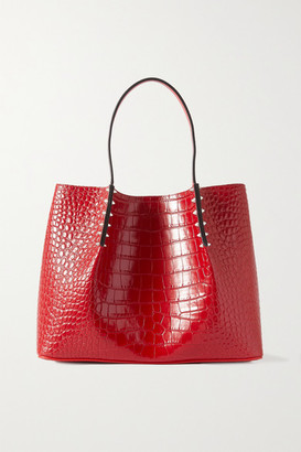Christian Louboutin Cabarock Small Spiked Croc-effect Leather Tote - Red
