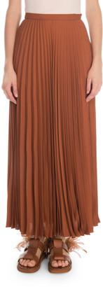 Valentino Silk Georgette Plisse Maxi Skirt
