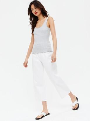 New Look 3 Pack Frill Hem Vest - Black White Grey