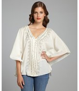 Love Sam cream cotton bead embellished flutter sleeve poncho top