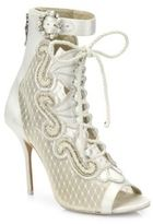 Sophia Webster Selina Embroidered Satin & Lace Booties