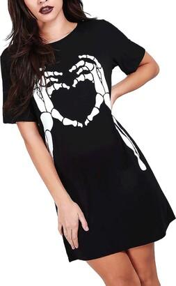 Fashion Star Womens Witch Better Candy Halloween Mini Dress Skeleton Hand Heart Black Plus Size (UK 24/26)