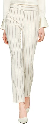 SUISTUDIO Lane Classic Stripe High Waist Silk Blend Trousers