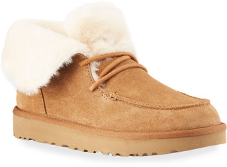 UGG Diara Suede Lace-Up Booties w/ Shearling Cuff