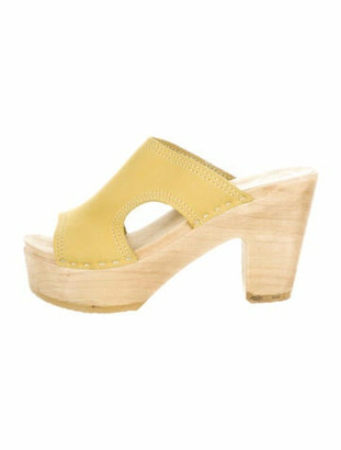 NO.6 STORE Suede Cutout Accent Sandals Yellow