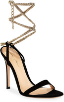 Gianvito Rossi Suede Sandals with Ankle Chain, Black