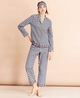 Brooks Brothers Scalloped Gingham Cotton Pajama & Eye-Mask Set