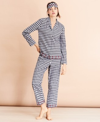 Brooks Brothers Scalloped Gingham Cotton Pajama & Eye-Mask Set