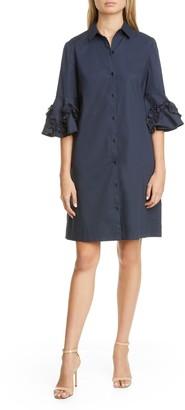 Lela Rose Ruffle Sleeve Stretch Cotton Shirtdress