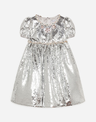Dolce & Gabbana Sequined Dress With Jewel Decorations