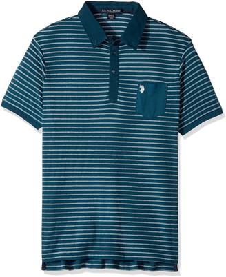 U.S. Polo Assn. Men's Slim Fit Striped Short Sleeve Pique Polo Shirt