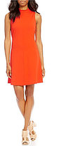 Daniel Cremieux Lilo Mock Neck Sleeveless Solid Crepe Fit & Flare Dress