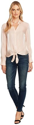 Vince Camuto Long Sleeve Button-Down Tie Front Iridescent Blouse (Apricot Cream) Women's Clothing