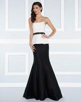 Mac Duggal Black White Red - 25303R Mermaid Gown with Beaded Belt