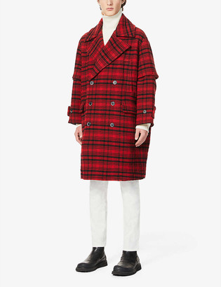 Barena Galioto Mistro Rosso checked wool-blend coat