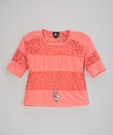 Dollhouse Coral Lace-Stripe Top & Owl Necklace - Girls