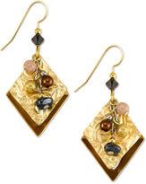 Silver Forest Earrings, Gold-Tone Bead Cascade Layered Diamond Pendant Drop Earrings