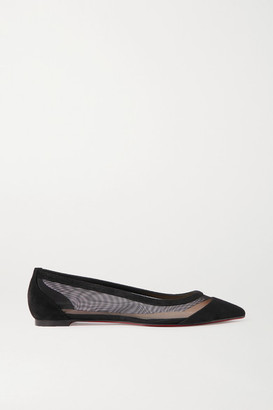 Christian Louboutin Galativi Suede And Mesh Point-toe Flats