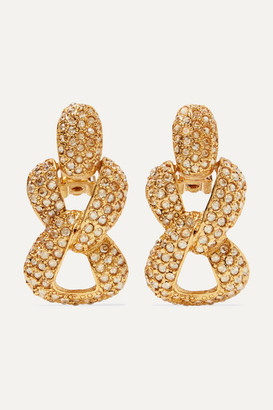 Oscar De La Renta Oscar de la Renta - Gold-tone And Crystal Clip Earrings