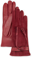 Mario Portolano Leather & Suede Tassel Gloves, Malva