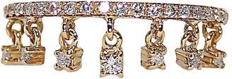 Bernard Delettrez Pink Gold Pave Band Ring w/ Seven Hanging Diamonds