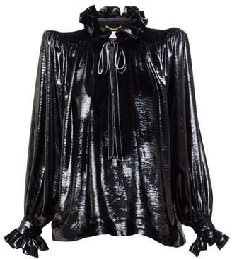 Saint Laurent Exaggerated-shoulder Metallic-velvet Blouse - Womens - Black