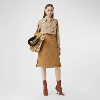 Burberry Diamond Quilted Twill A-line Skirt