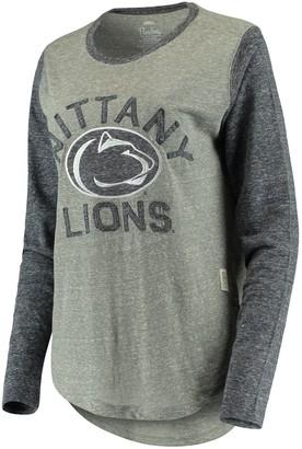 Unbranded Women's Pressbox Heathered Gray Penn State Nittany Lions Ariel Knobi Tri-Blend Long Sleeve T-Shirt