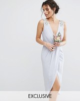 TFNC WEDDING Wrap Midi Dress With Embellishment