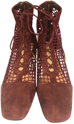 Christian Dior Naughtily-D Burgundy Suede Ankle boots