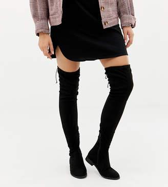 Asos Design DESIGN Wide Fit Extra Wide Leg kaska flat studded thigh high boots-Black