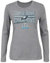 Authentic Nfl Apparel Women's Philadelphia Eagles Super Bowl Lii Champ Metallic Long Sleeve T-Shirt