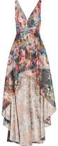 Marchesa Layered Metallic Jacquard Gown