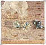 Flowers Earrings - real flower earrings, stud earrings,Terrarium jewelry, nature jewelry, glass globe earrings