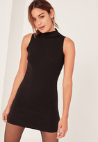Missguided Petite Black High Neck Ribbed Midi Dress