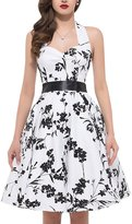 Dolamen Women Dress, V Neck Vintage and Retro 1950s Style, Slim-fit A Line Swing Knee-long Halter Printed Dress, Perfect for Party and Wedding